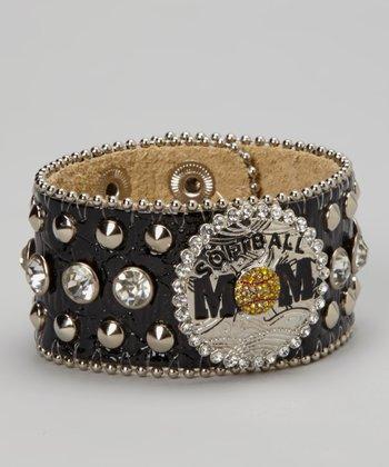 Black Studded Rhinestone 'Softball Mom' Leather Bracelet