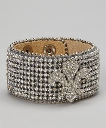 Silver All Rhinestone Fleur-de-Lis Leather Bracelet