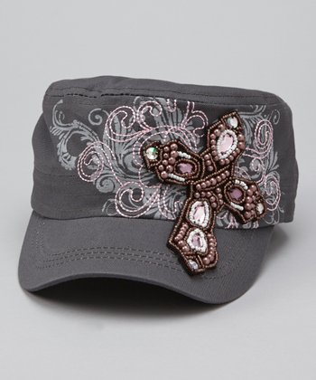 Gray Beaded Cross Cadet Cap