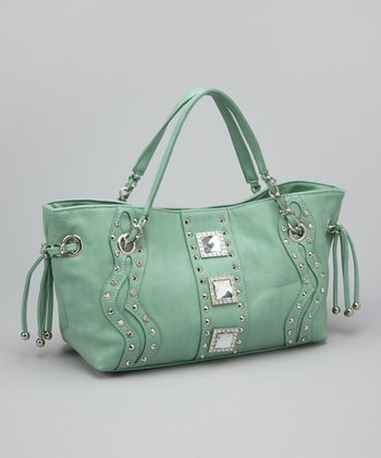 Mint Rhinestone Concho Shoulder Bag