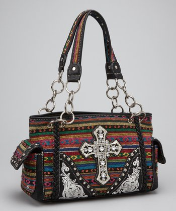 Black Southwestern Cross Shoulder Bag