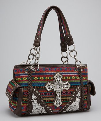 Brown Southwestern Cross Shoulder Bag