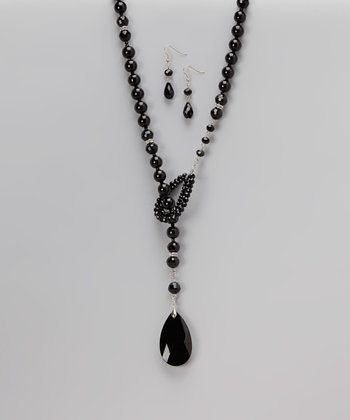 Black Teardrop Pendant Necklace & Drop Earrings