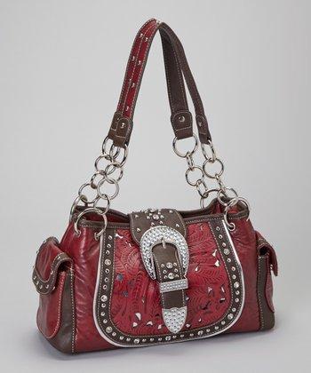 Red Rhinestone Saddle Shoulder Bag