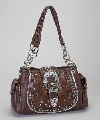Brown Rhinestone Saddle Shoulder Bag