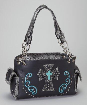 Black & Turquoise Shadow Cross Shoulder Bag