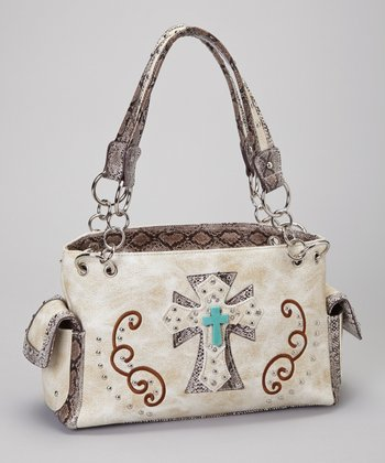 Beige & Turquoise Shadow Cross Shoulder Bag