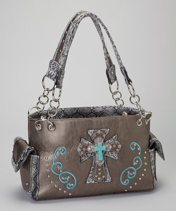 Pewter & Turquoise Shadow Cross Shoulder Bag