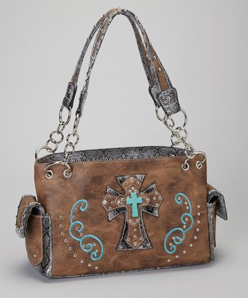 Brown & Turquoise Shadow Cross Shoulder Bag
