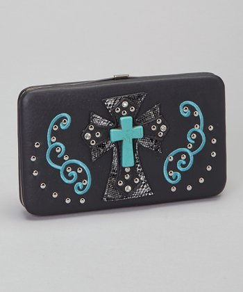 Black & Turquoise Shadow Cross Wallet & Checkbook Case