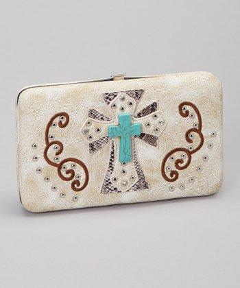 Beige & Turquoise Shadow Cross Wallet & Checkbook Case