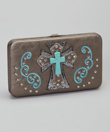 Pewter & Turquoise Shadow Cross Wallet & Checkbook Case