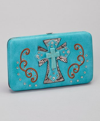 Turquoise Shadow Cross Wallet & Checkbook Case