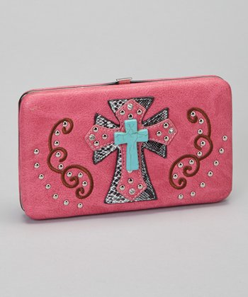 Hot Pink & Turquoise Shadow Cross Wallet & Checkbook Case