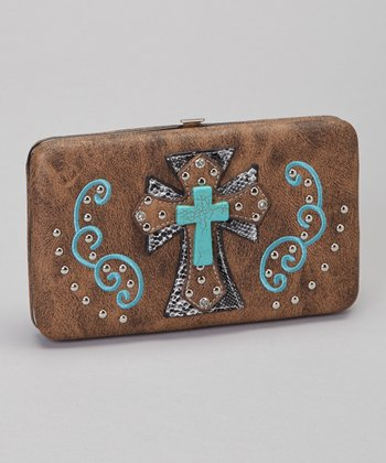 Brown & Turquoise Shadow Cross Wallet & Checkbook Case