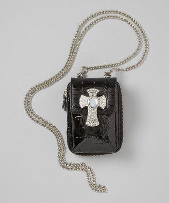 Black Croc Rhinestone Crossbody Phone Case