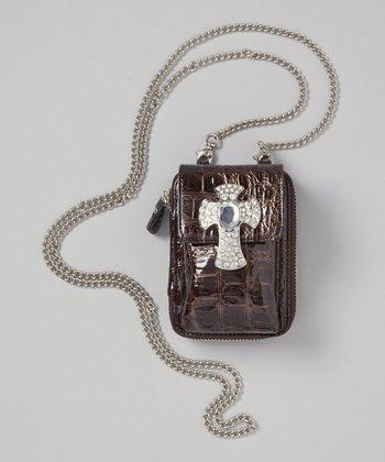 Brown Croc Rhinestone Crossbody Phone Case