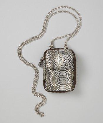 Pewter Snake-Embossed Crossbody Phone Case