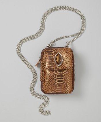 Brown Snake-Embossed Crossbody Phone Case