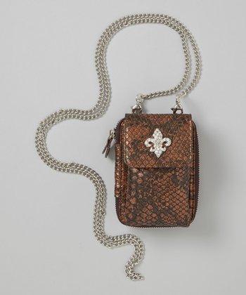 Brown Fleur-de-Lis Crossbody Phone Case
