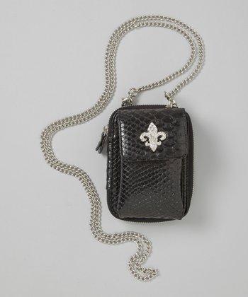 Black Fleur-de-Lis Crossbody Phone Case