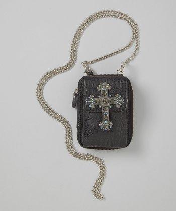 Black Croc Fancy Rhinestone Crossbody Phone Case