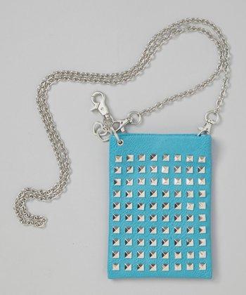 Blue Studded Crossbody Bag