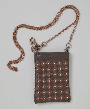 Brown Rhinestone Woven Crossbody Bag