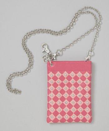 Pink Rhinestone Woven Crossbody Bag