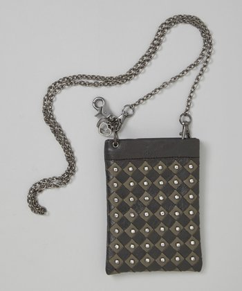 Black Rhinestone Woven Crossbody Bag
