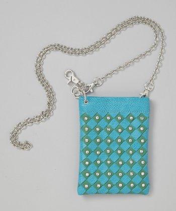 Blue Rhinestone Woven Crossbody Bag