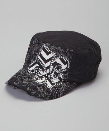 Black Zigzag Fleur-de-Lis Cadet Cap