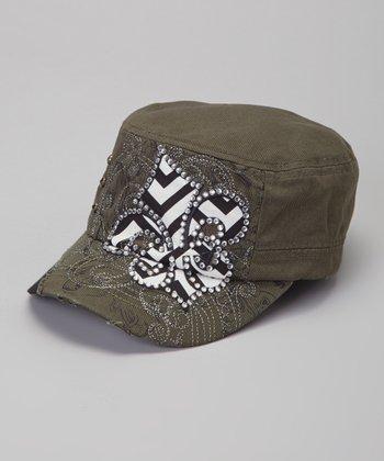 Olive Zigzag Fleur-de-Lis Cadet Cap