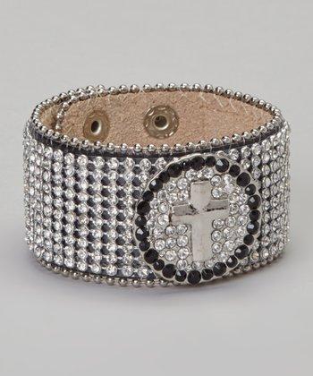 Black Rhinestone Cross Cuff