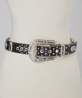 Black Croc & Clear Rhinestone Belt
