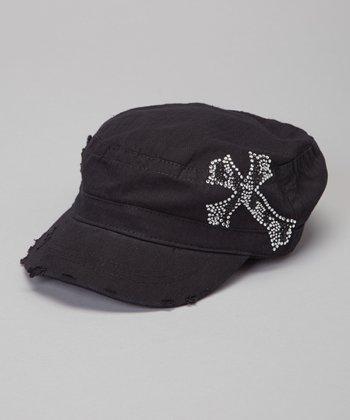 Black Zebra Rhinestone Cross Cadet Cap