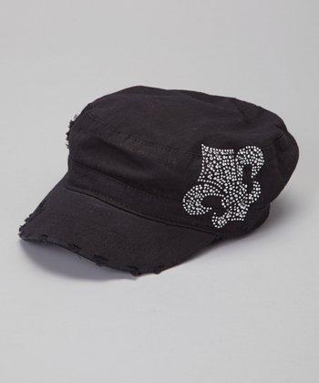 Black Rhinestone Fleur-de-Lis Distressed Cadet Cap