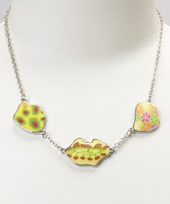 Lemon Lime Triple Pendant Chain Necklace