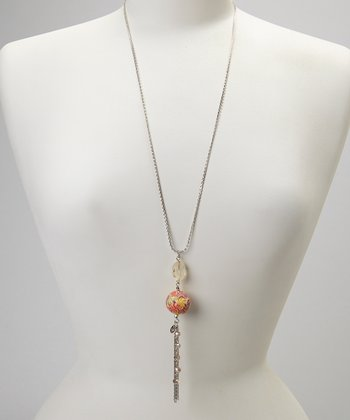 Orange & Yellow Tassel Pendant Necklace