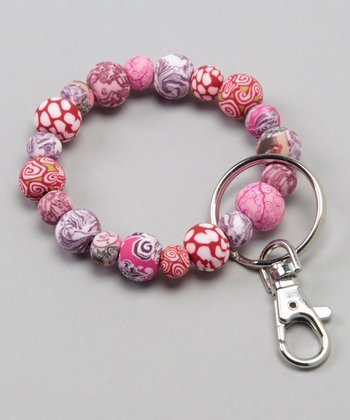 Pink Paradise Beaded Stretch Clip Key Chain