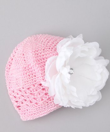 White Peony Flower Knit Beanie - Infant
