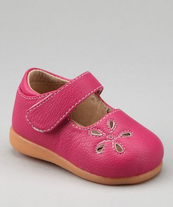 Hot Pink Eyelet Flower Squeaker Mary Jane