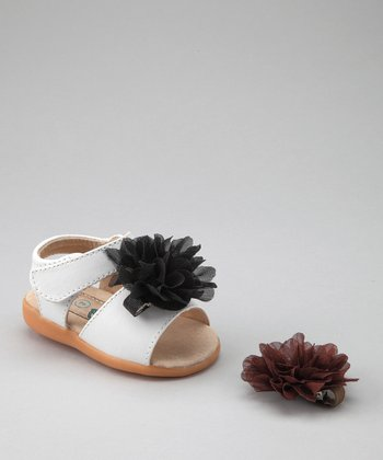 White Fluffy Flower Squeaker Sandal