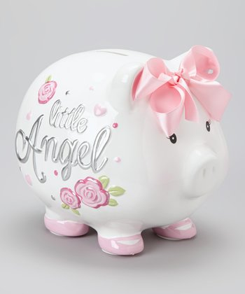 White 'Little Angel' Piggy Bank