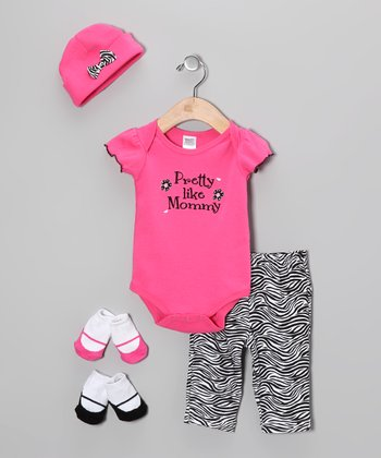 Hot Pink 'Pretty Like Mommy' Five-Piece Layette Set - Infant