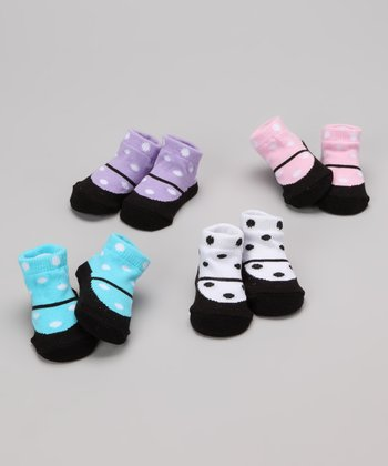 Polka Dot Mary Jane Socks Set