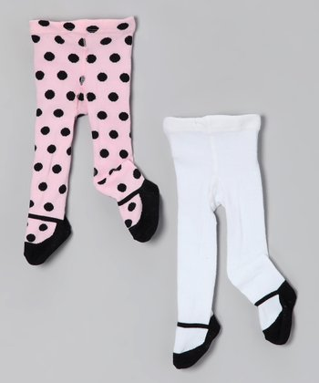 Pink & Cream Polka Dot Mary Jane Tights Set