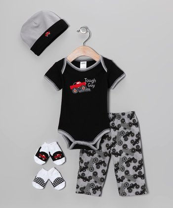 Baby Essentials Black 'Tough Guy' Truck Five-Piece Layette Set - Infant