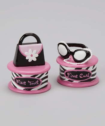 Pink Little Diva 'First Curl' & Flower 'First Tooth' Keepsake Set