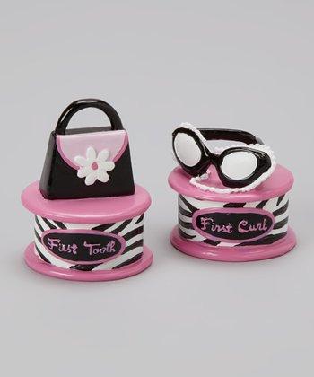 Baby Essentials Pink Little Diva 'First Curl' & Flower 'First Tooth' Keepsake Set